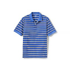 Lands' End - Blue short sleeve striped original pique polo shirt