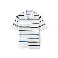 Lands' End - White short sleeve striped original pique polo shirt