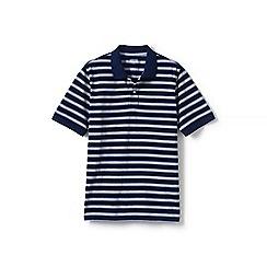 Lands' End - Navy short sleeve striped original pique polo shirt