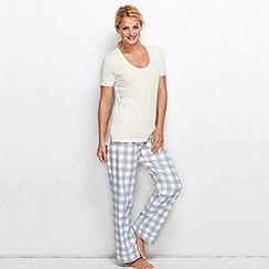 Lands' End - White petite cotton/modal short sleeve pyjama top