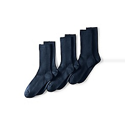 Lands' End - Blue Cotton-Rich Socks - 3-Pack