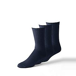 Lands' End - 3 pack navy cotton-rich socks
