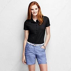 Lands' End - Black petite slim fit short sleeve pique polo shirt