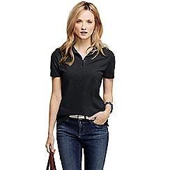 Lands' End - Black petite pique short sleeve polo shirt