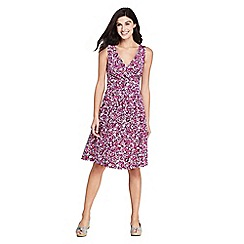 Lands' End - Pink Sleeveless Fit and Flare Print Jersey Dress
