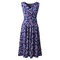 Lands' End - Purple Plus Sleeveless Fit and Flare Print Jersey Dress