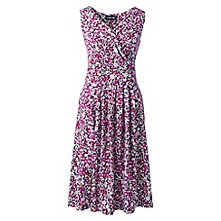 Lands' End - Pink Plus Sleeveless Fit and Flare Print Jersey Dress