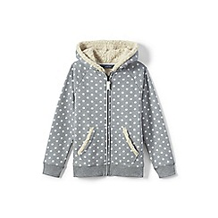 Lands' End - Girls' grey patterned sherpa hoodie