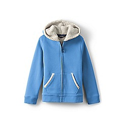 Lands' End - Blue girls' long sleeve sherpa hoodie