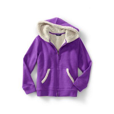 lands' end girls' purple long sleeve sherpa hoodie  debenhams