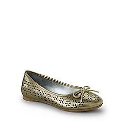 Lands' End - Girls' gold perforated ballet shoes