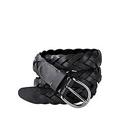 Lands' End - Black men's plaited leather belt