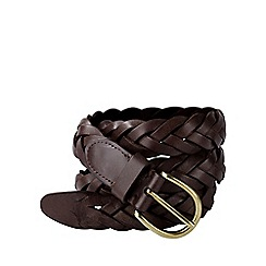 Lands' End - Brown men's plaited leather belt