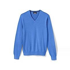 Lands' End - Blue Fine Gauge V-Neck Sweater