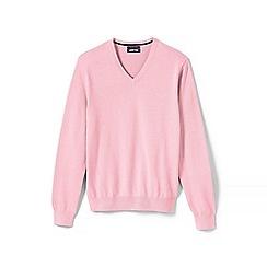 Lands' End - Pink Fine Gauge V-Neck Sweater