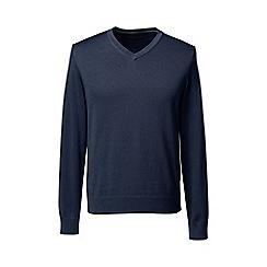 Lands' End - Blue tall fine gauge v-neck sweater