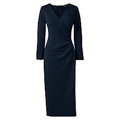Lands' End - Black ponte jersey tucked wrap dress