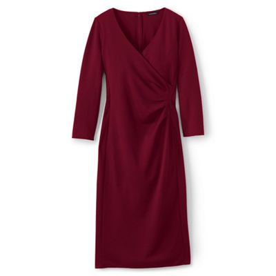Lands' End   Red Ponte Jersey Tucked Wrap Dress by Lands' End