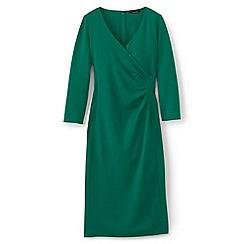 Lands' End - Green women's plus ponte jersey tucked wrap dress