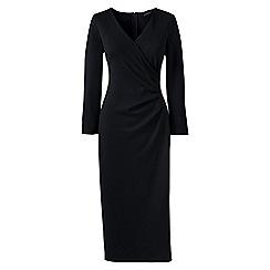 Lands' End - Black womens ponte jersey tucked wrap dress