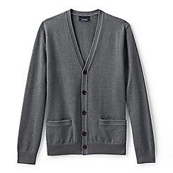 Lands' End - Grey regular fine gauge v-neck cardigan
