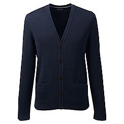 Lands' End - Blue regular fine gauge v-neck cardigan