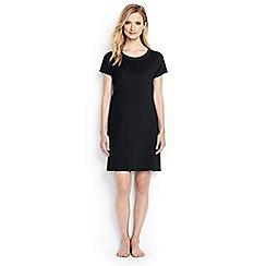 Lands' End - Black regular loopback cotton jersey t-shirt dress