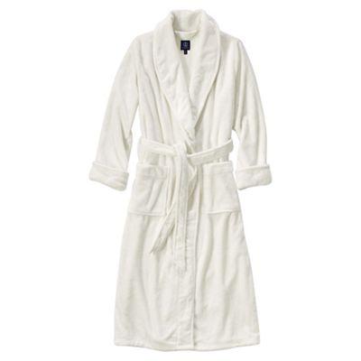 b78da16b28 Lands  End - Cream plush fleece dressing gown