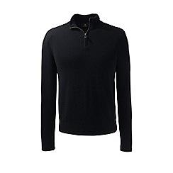 Lands' End - Black fine gauge cashmere quarter zip