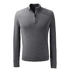 Lands' End - Grey fine gauge cashmere quarter zip