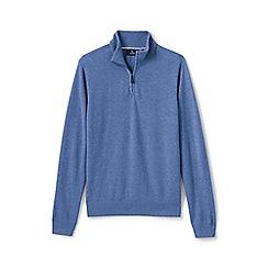 Lands' End - Blue fine gauge Cashmere quarter zip jumper