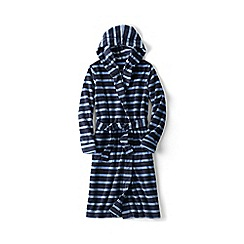 Lands' End - Blue boys' patterned hooded fleece dressing gown