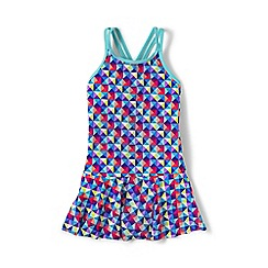 Lands' End - Blue girls' smart swim skirted one piece