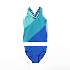 Lands' End - Blue girls' smart swim colourblock tankini