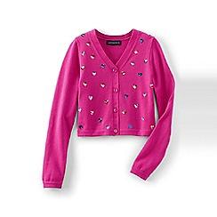 Lands' End - Pink girls' shimmer sophie cardigan