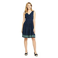 Lands' End - Blue Regular Engineered Print Jersey Crossover Dress