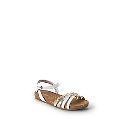 Lands' End - White girls' plaited sandals