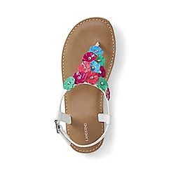 Lands' End - Girls' white flower thong sandals