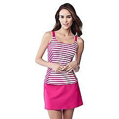 Lands' End - Pink bias cut striped scoop neck tankini top