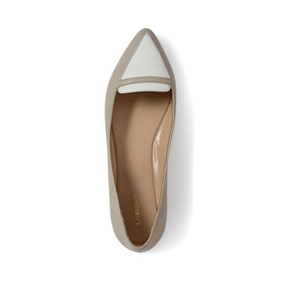 Lands' End - Beige contrast pointed-toe loafers