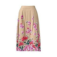 Lands' End - Beige stretch woven petite print midi skirt