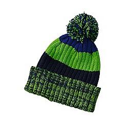 Lands' End - Boys' green stripe rib knit hat