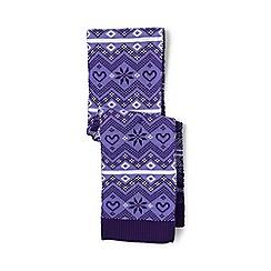 Lands' End - Purple double knit fair isle scarf