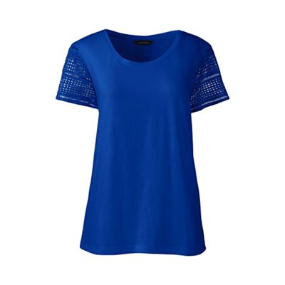 Lands' End   Blue Regular Lace Sleeve Tee by Lands' End