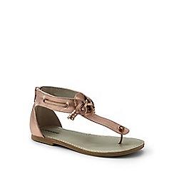 Lands' End - Girls' pink zip-back leather sandals