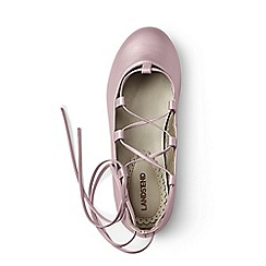 Lands' End - Pink laced ballet shoes