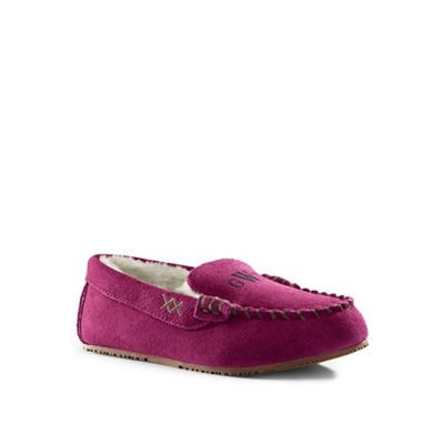 Lands' End - Pink suede moccasin slippers