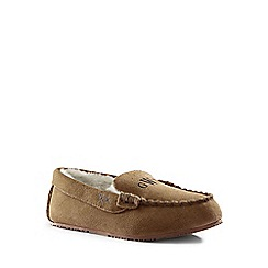 Lands' End - Brown suede moccasin slippers