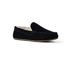 Lands' End - Black suede moccasin slippers