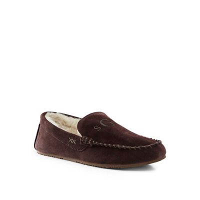 Mens Suede Check Moccasin Slippers - 10 - RED Lands End